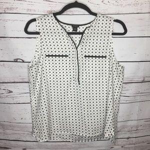 Ann Taylor xl white black geometric shell shirt